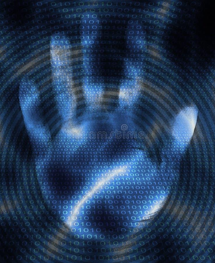 Mão e código binário ilustração stock