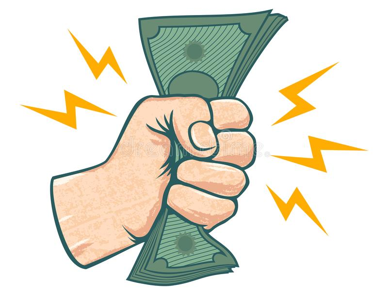 Mão e dinheiro ilustração royalty free