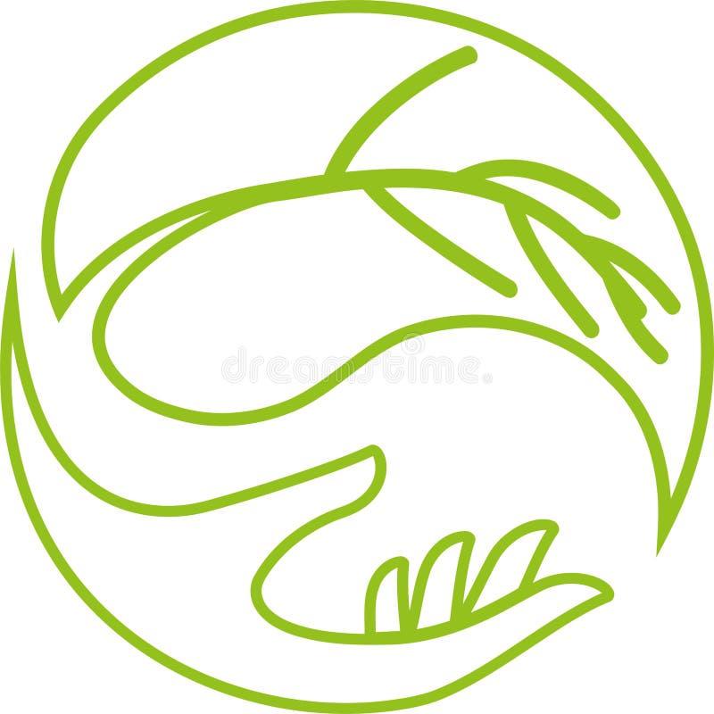 Mão e folha, bem-estar e logotipo da natureza ilustração royalty free