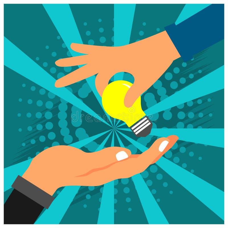 Mão e lâmpada A ilustração do vetor está mostrando o conceito de transferência do conhecimento ou das ideias ilustração stock