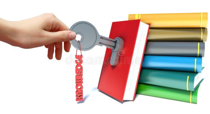 Mão e livro com chave no fechamento no fundo branco ilustração do vetor