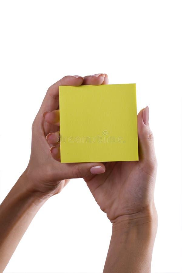 Mão e memorando foto de stock