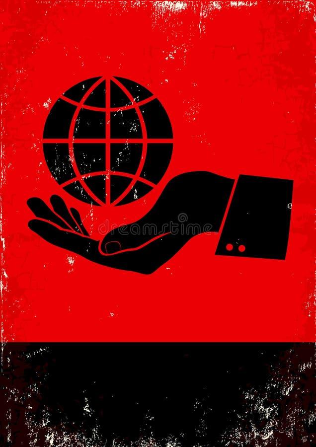 Mão e o globo ilustração do vetor