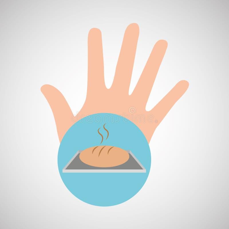 Mão e padaria quente do pão ilustração stock