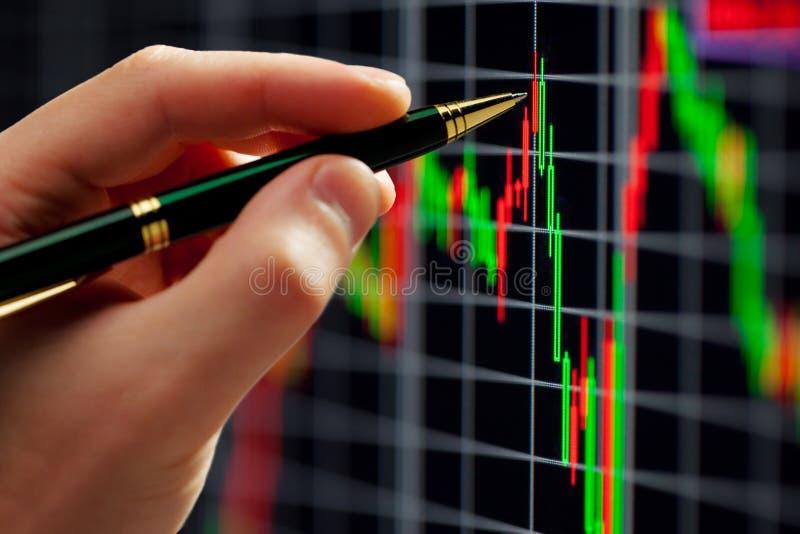 Mão e pena no gráfico imagens de stock royalty free