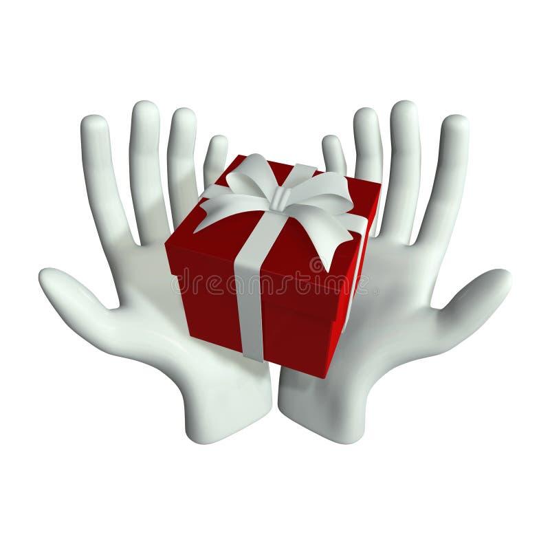 Mão e presente ilustração stock
