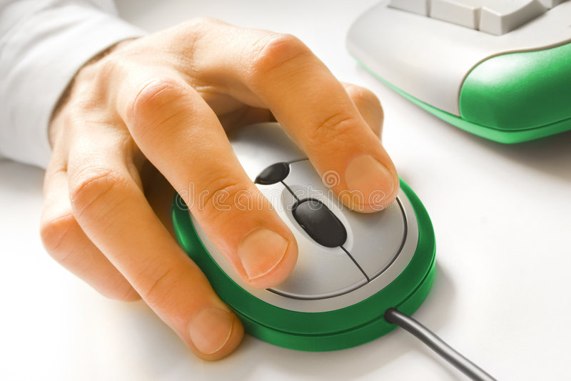 Mão e rato fotografia de stock royalty free