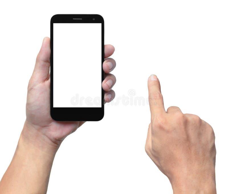 Mão e smartphone imagem de stock