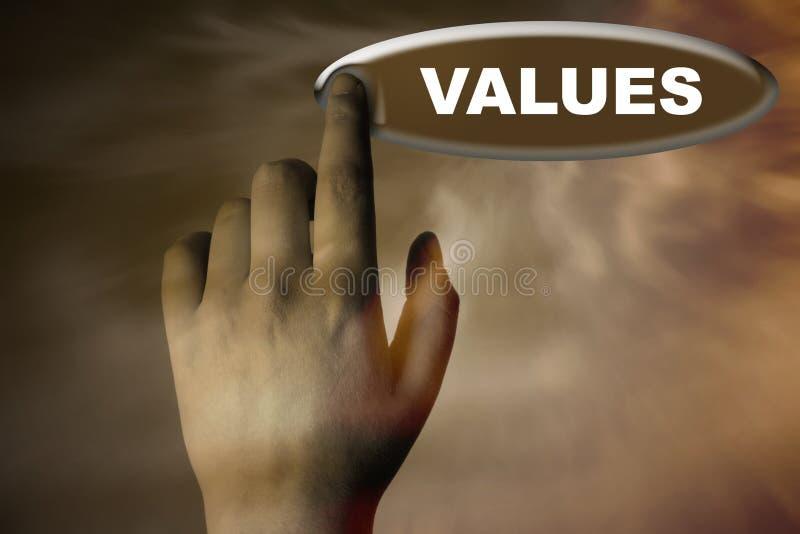 Mão e tecla com palavra dos VALORES imagem de stock