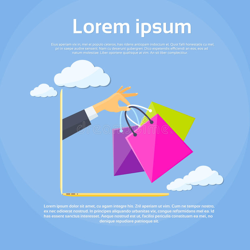 Mão em linha do homem de negócio do saco de compras do portátil ilustração stock