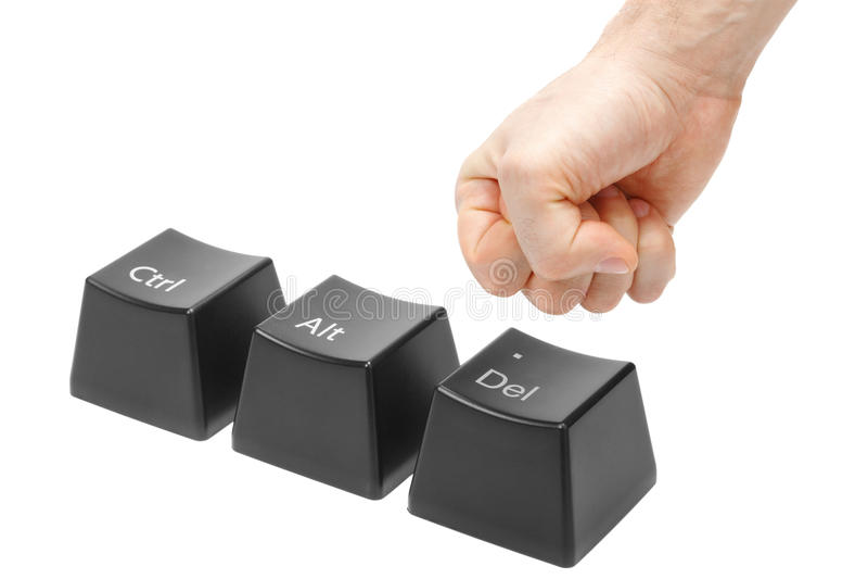 Mão em uma chave de supressão do impulso do punho, alt, CTRL imagens de stock royalty free