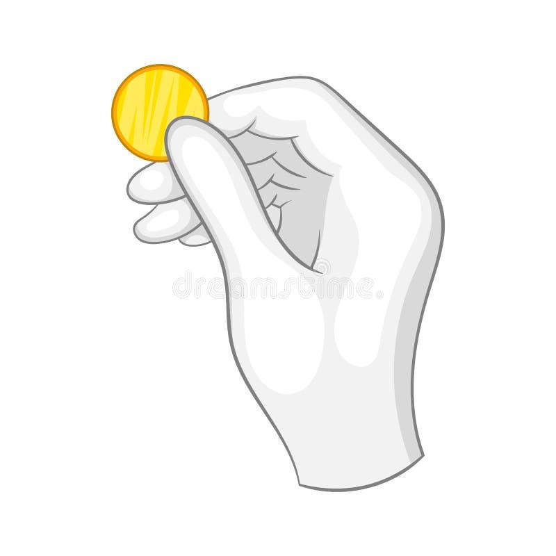Mão em uma luva branca que guarda um ícone da moeda de ouro ilustração stock