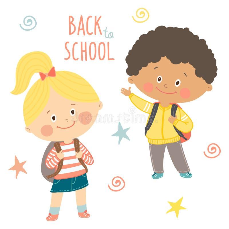 Mão engraçada crianças tiradas com trouxas Menino bonito e menina com schoolbags De volta ao projeto de cartão da escola Vetor ep ilustração stock