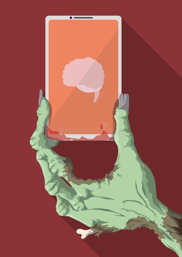 Mão engraçada do zombi que guarda um telefone esperto com Brain App, ilustração do vetor ilustração royalty free