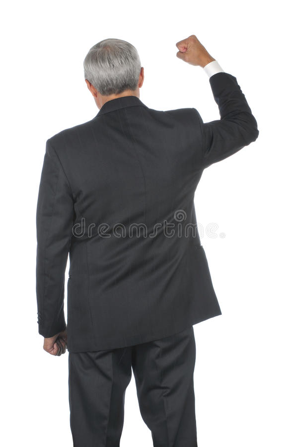 Mão envelhecida média do homem de negócios levantada imagens de stock