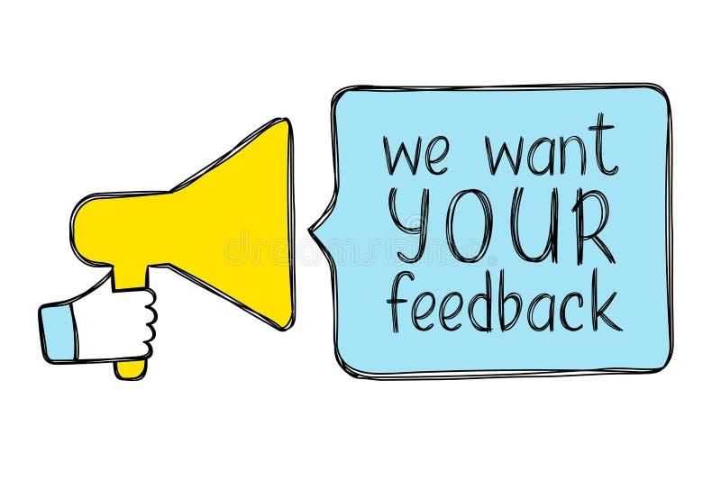Mão esboçada com bolha do megafone e do discurso com inscrição nós queremos seu feedback ilustração stock