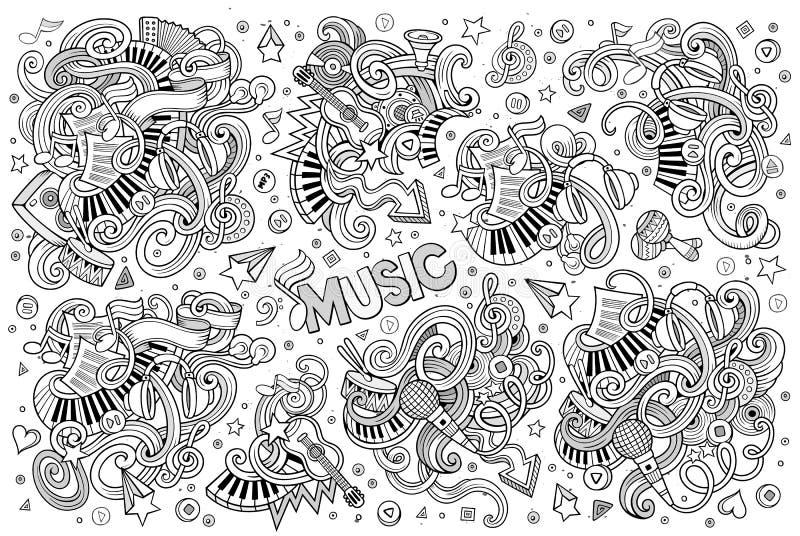 A mão esboçado do vetor tirada rabisca o grupo dos desenhos animados de objetos da música ilustração royalty free