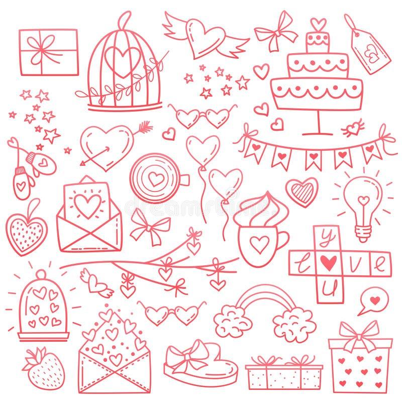 A mão esboçado do vetor tirada rabisca o grupo dos desenhos animados de objetos e de símbolos do dia do amor e do Valentim s ilustração stock