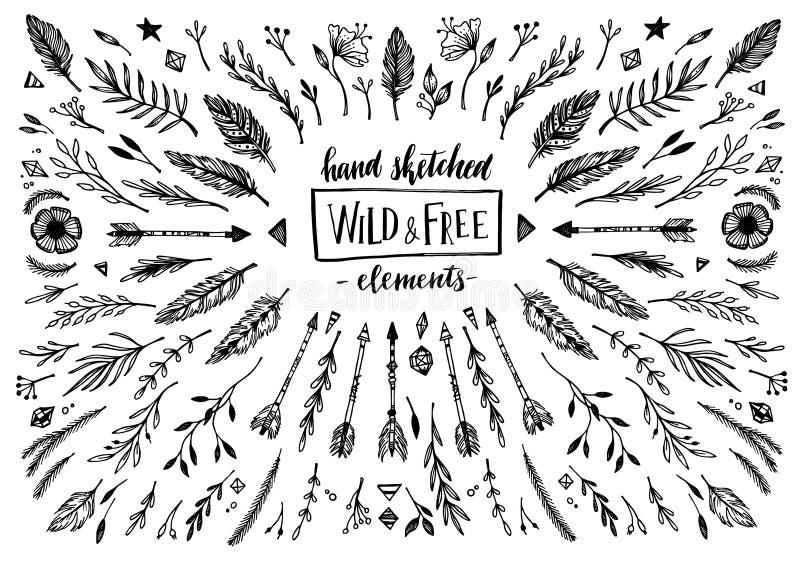 A mão esboçou elementos do vintage do vetor (louros, quadros, as folhas, ilustração stock
