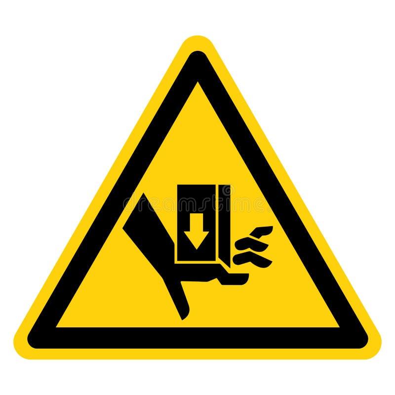 A mão esmaga a força de cima do sinal do símbolo, ilustração do vetor, isolado na etiqueta branca do fundo EPS10 ilustração royalty free