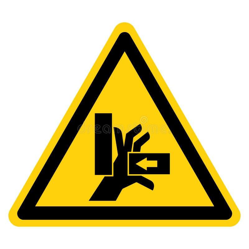 A mão esmaga a força do isolado direito do sinal do símbolo no fundo branco, ilustração do vetor ilustração royalty free