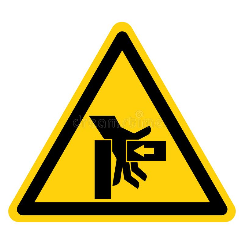 A mão esmaga a força do sinal direito do símbolo, ilustração do vetor, isolado na etiqueta branca do fundo EPS10 ilustração stock