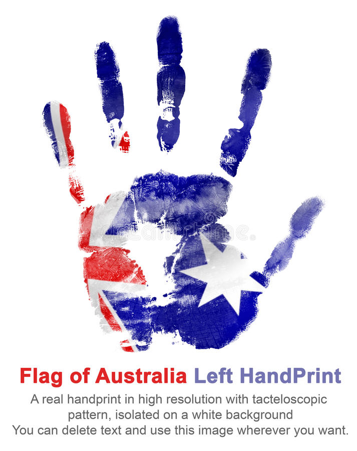 A mão esquerda da impressão nas cores da bandeira australiana Símbolos de Austrália ilustração do vetor