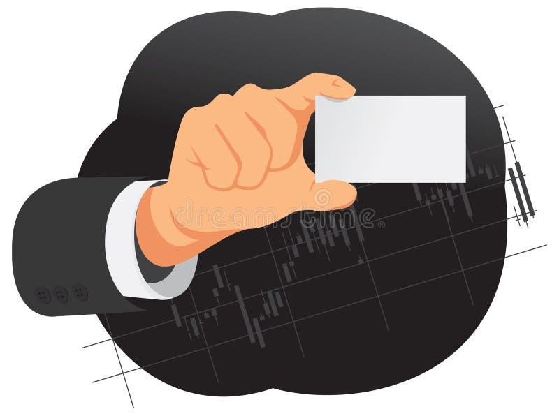 A mão está guardando o cartão vazio ilustração do vetor