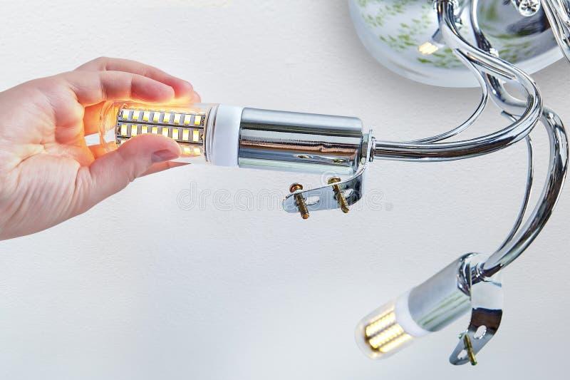 A mão está parafusando a lâmpada do milho do diodo emissor de luz na iluminação do teto da sala foto de stock royalty free
