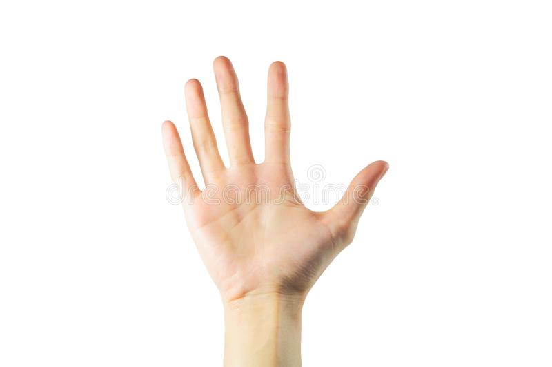 Mão fêmea bonita isolada no fundo branco, asiático, yello imagem de stock