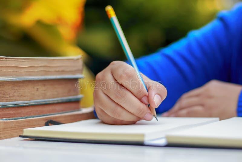 Mão fêmea com escrita da camisa da mola algo com lápis fotos de stock royalty free