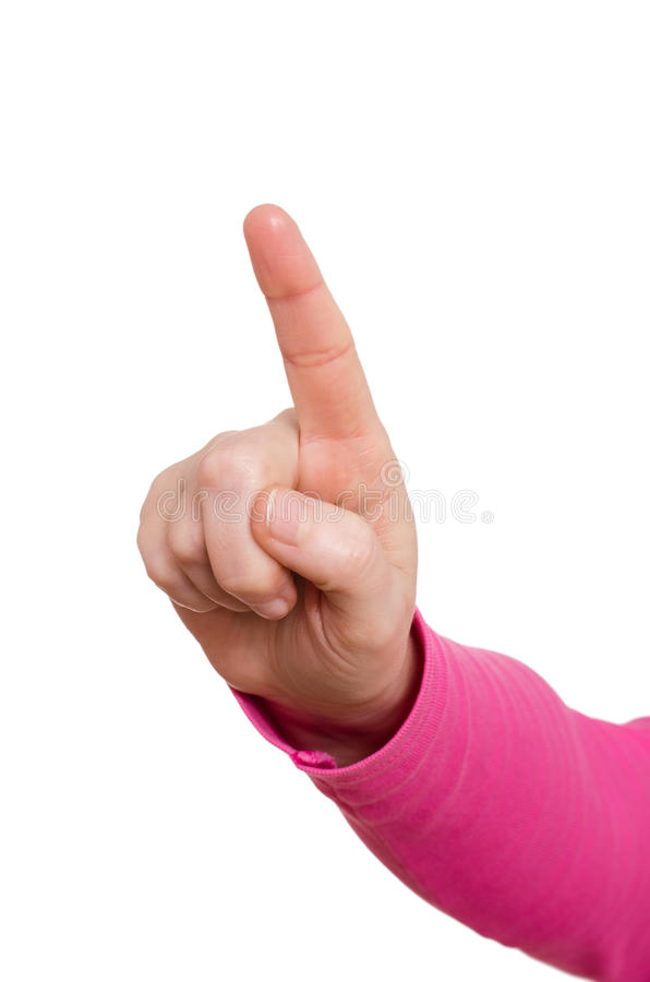 Mão fêmea com forefinger fotos de stock royalty free