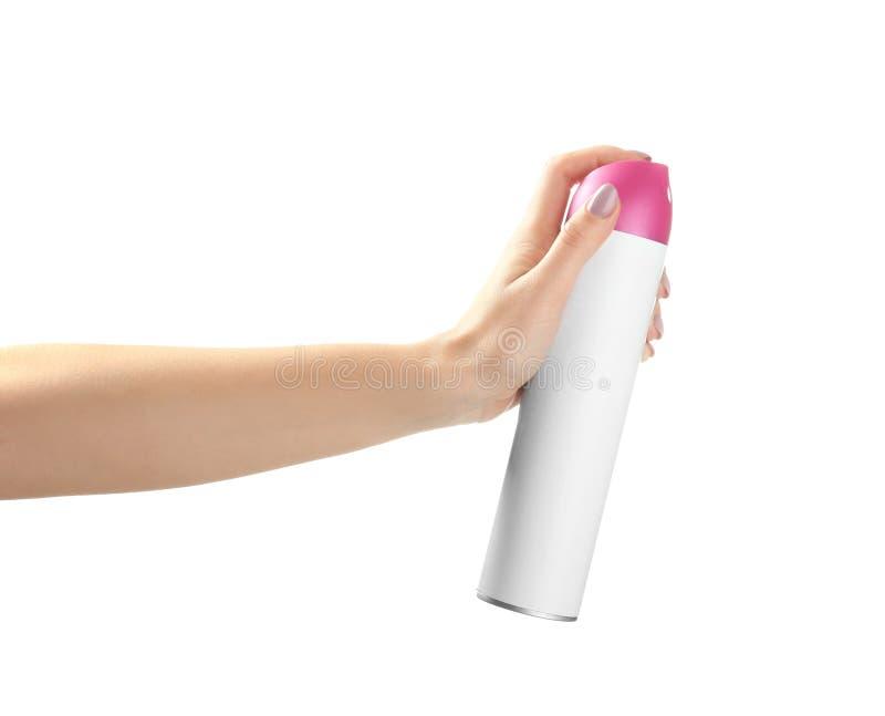 Mão fêmea com o refrogerador de ar no fundo branco imagens de stock