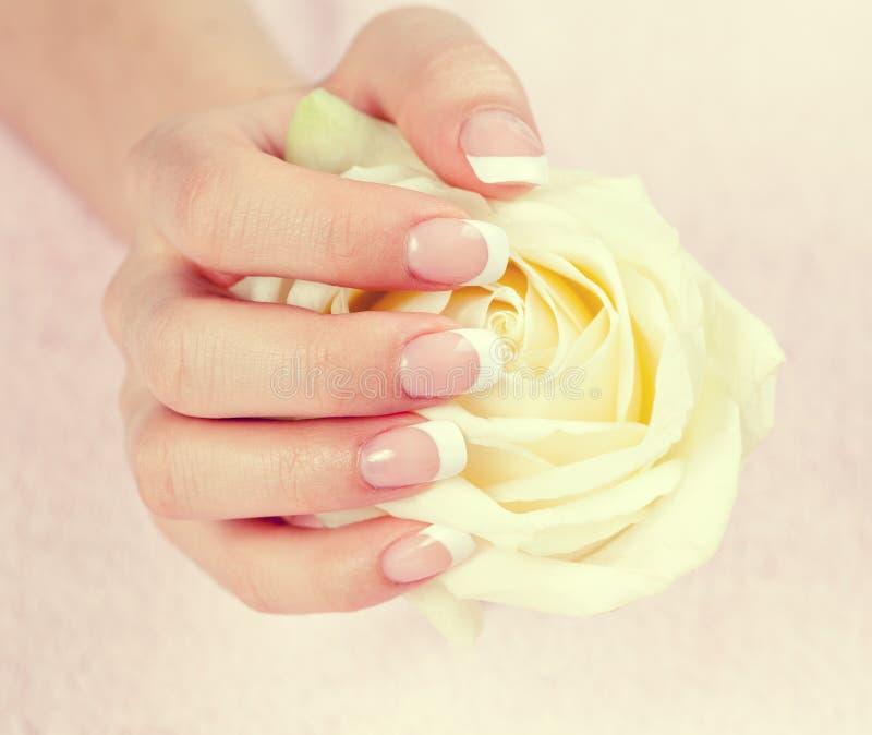 Mão fêmea com tratamento de mãos francês imagens de stock royalty free