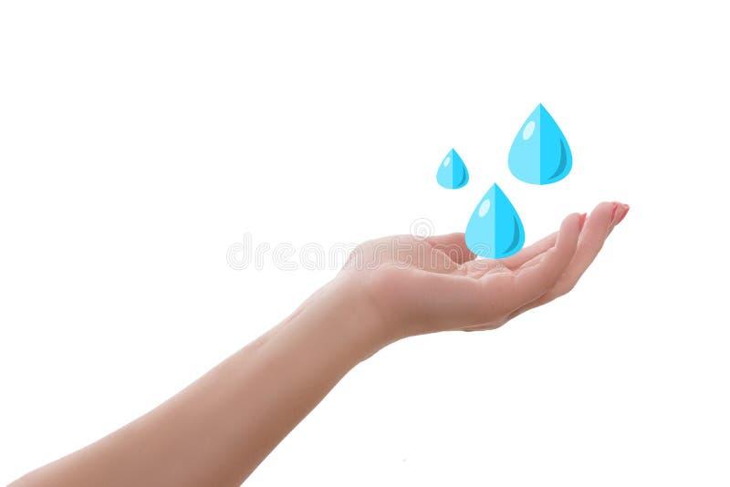 Mão fêmea da palma que mantém gotas da água isoladas no branco Conceito da ecologia da higiene imagens de stock