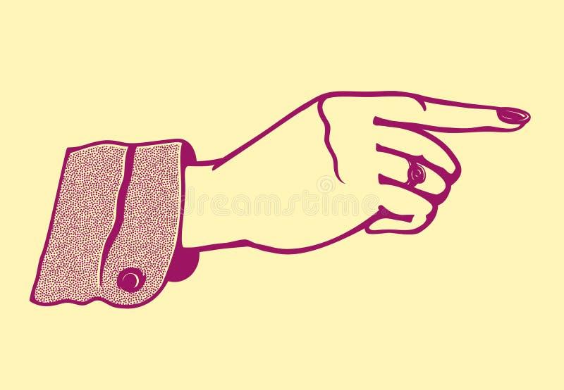 Mão fêmea do vintage com apontar o dedo ilustração do vetor