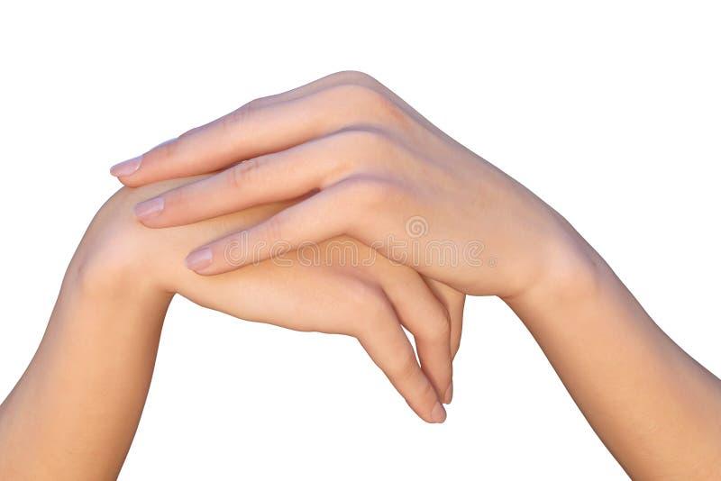 A mão fêmea está descansando em uma outra mão imagens de stock royalty free