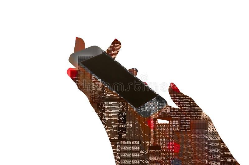 A mão fêmea guarda um telefone com uma cidade da noite ilustração do vetor