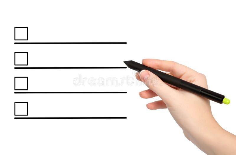 Download Mão Fêmea Isolada Com Tração Do Lápis Algo Imagem de Stock - Imagem de pena, preensão: 29834231