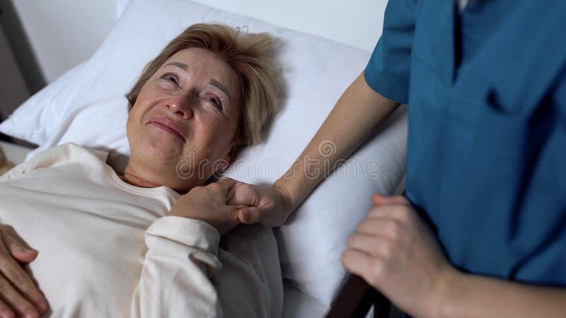 Mão fêmea positiva da terra arrendada do paciente da enfermeira e do riso, dizendo gracejos, divertimento imagens de stock royalty free