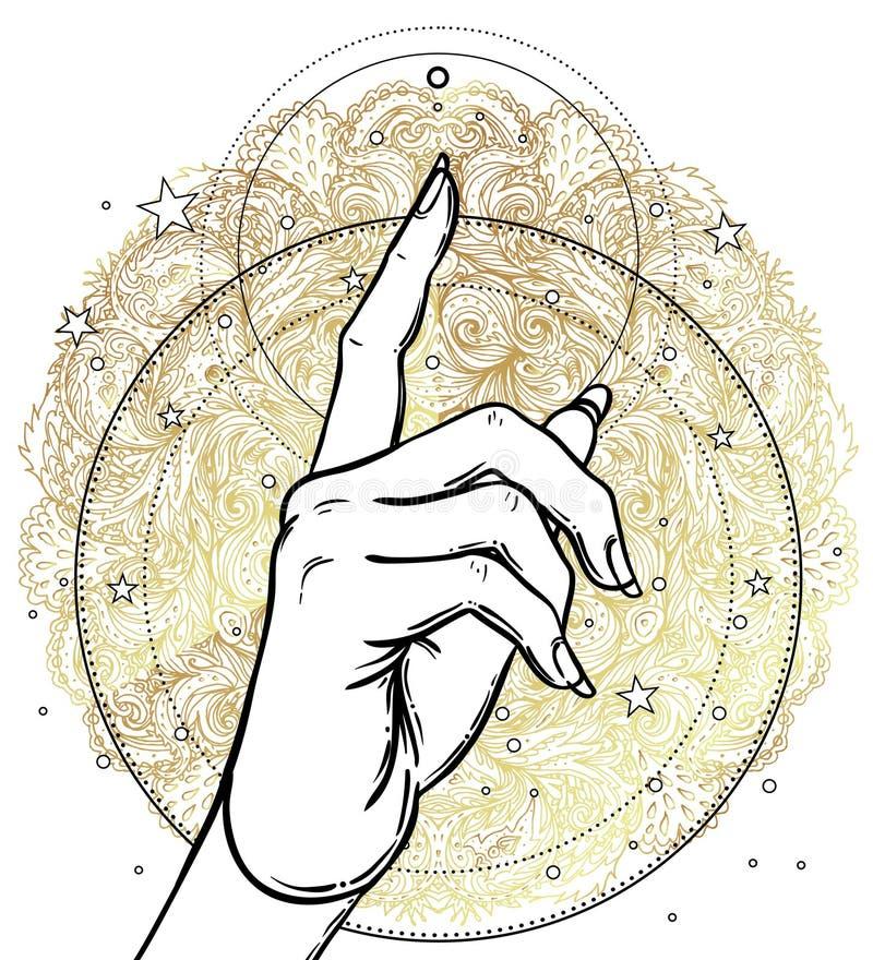 Mão fêmea que aponta em algo com dedo indicador Geomet sagrado ilustração stock