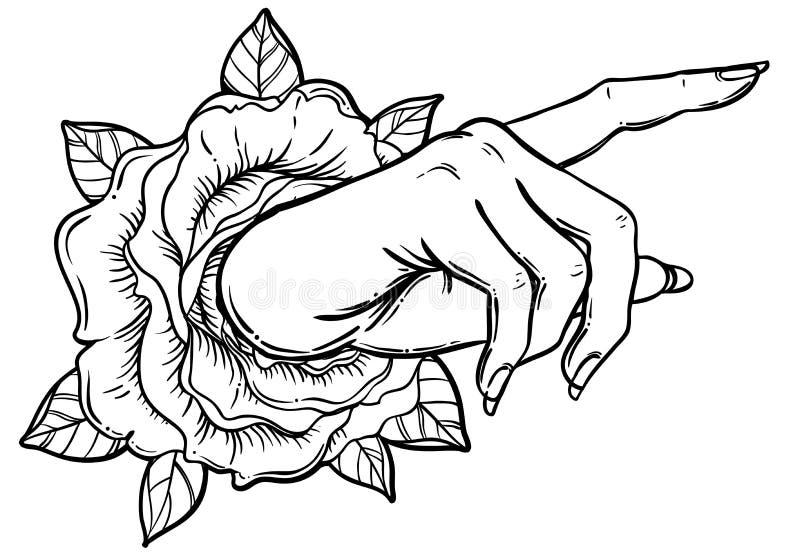Mão fêmea que aponta em algo com dedo indicador Mostrando o direc ilustração stock