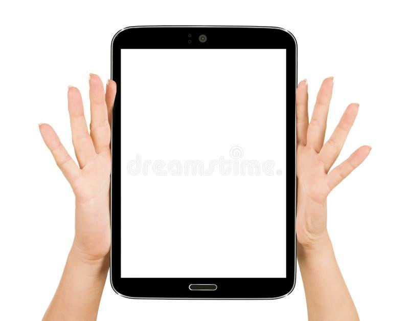 Mão fêmea que guarda um dispositivo do computador da almofada de toque da tabuleta fotografia de stock