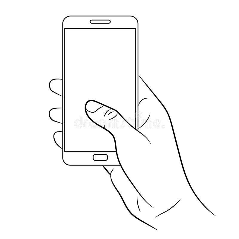 Mão fêmea que guarda um telefone esperto no branco do monochr ilustração stock