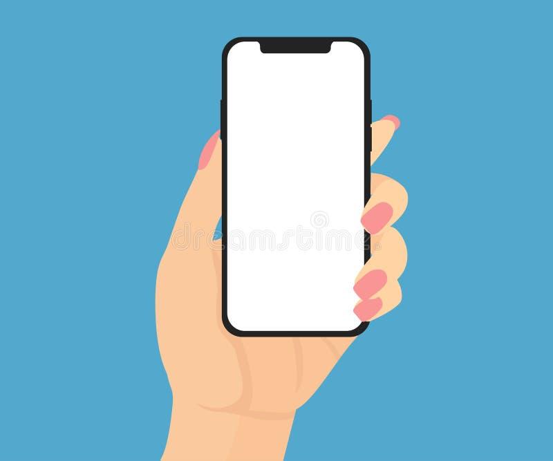 Mão fêmea que guarda um telefone novo com tela branca ilustração royalty free