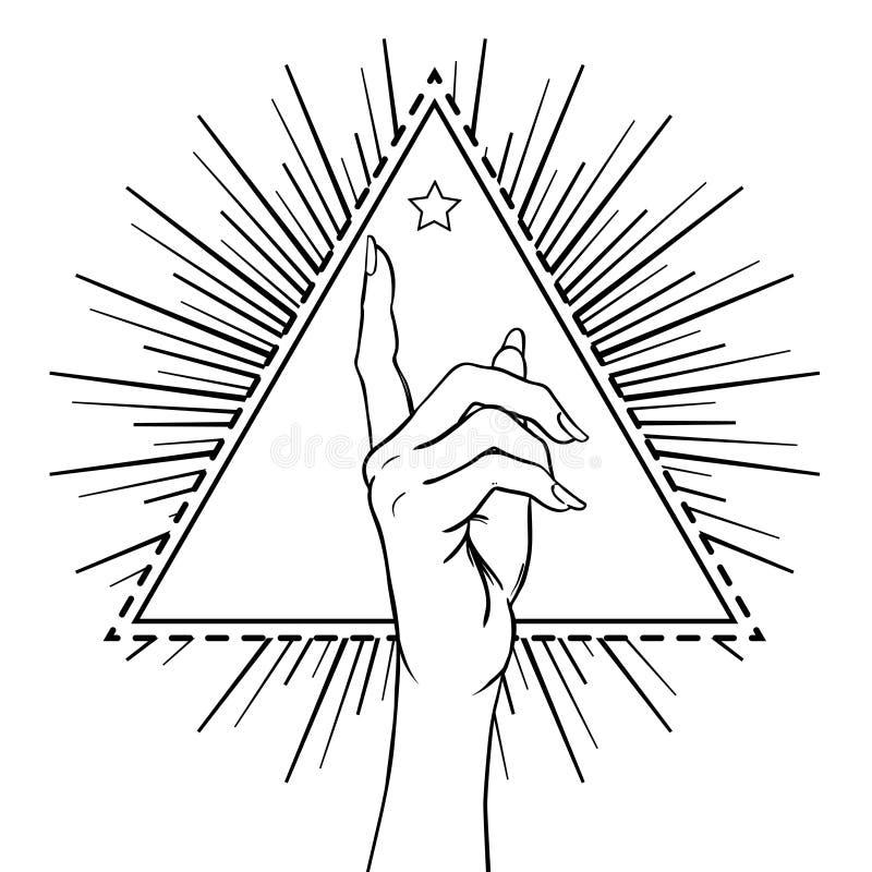 Mão fêmea que mostra apontando o dedo sobre o triângulo com raios rea ilustração stock