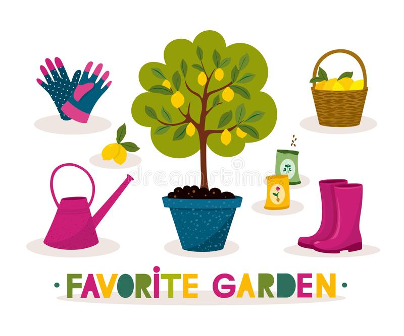Mão feliz bandeira de jardinagem tirada Árvore de limão, botas de borracha e ferramentas de jardim com rotulação em um estilo dos ilustração royalty free