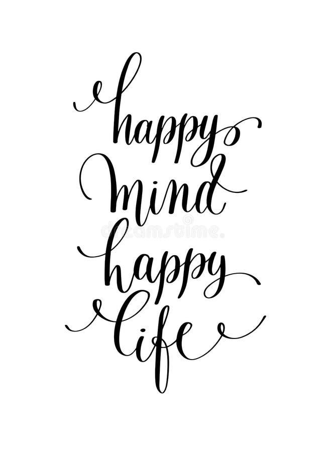 Mão feliz da vida da mente feliz que rotula citações positivas, caligrafia ilustração stock
