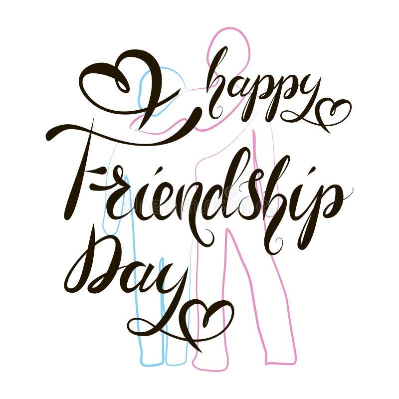 Mão feliz do dia da amizade que rotula o texto ilustração do vetor