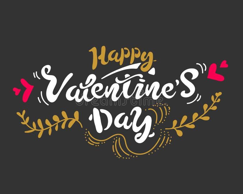 A mão feliz do dia de Valentim tirada escova a rotulação, isolada no fundo preto Para o feriado Ilustração do vetor ilustração stock
